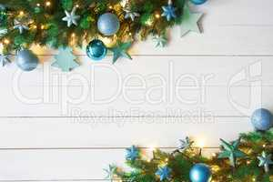 Turquoise Christmas Banner, Frame, Fir Branches, Copy Space, Bokeh