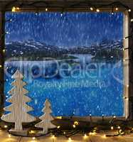 Window, Winter Scenery, Fairy Lights