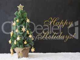 Christmas Tree, Text Happy Holidays, Black Concrete