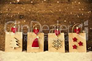 Shopping Bags With Christmas Decoration, Instagram Filter, Snowflakes