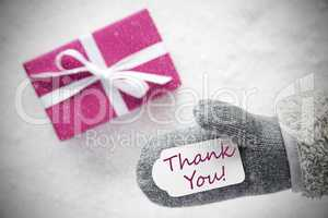 Pink Gift, Glove, Text Thank You, Snowflakes
