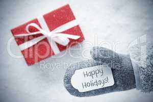 Red Gift, Glove, Text Happy Holidays, Snowflakes
