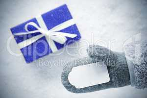 Blue Gift, Glove, Copy Space, Snowflakes