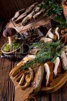 Prepare dried mushrooms