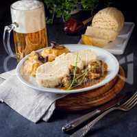 Original Czech dumpling with goulash