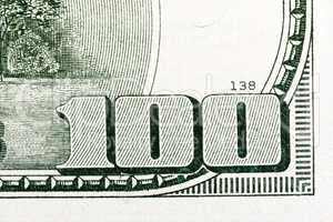 Macro shot of 100 dollar bill US money.