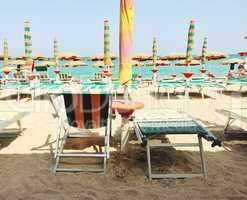 Italian beach with umbrellas