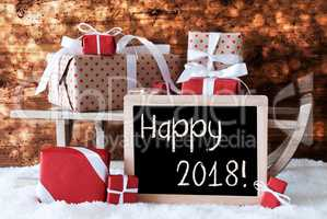Sleigh With Gifts, Snow, Bokeh, Text Happy 2018