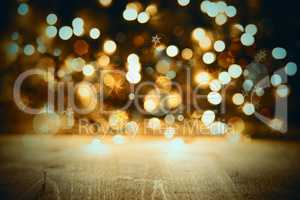 Golden Christmas Lights Background, Celebration Or Party Texture With Wood