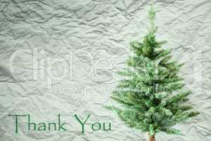 Fir Tree, Crumpled Paper Background, Text Thank You