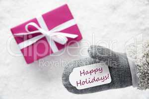 Pink Gift, Glove, Text Happy Holidays
