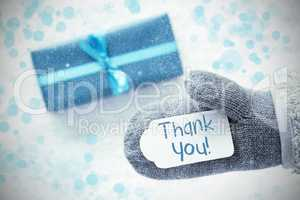 Turquoise Gift, Glove, Text Thank You, Snowflakes