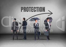 Protection text and Group of Businessmen with umbrellas looking in opposite directions