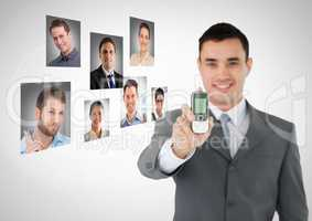 Man holding phone with Profile portraits of people contacts