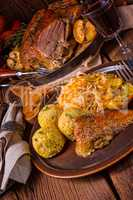 Roast duck with dumplings