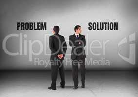 Problem or solution text with Businessman looking in opposite directions