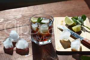 Rum with ice. Cocktail, whiskey