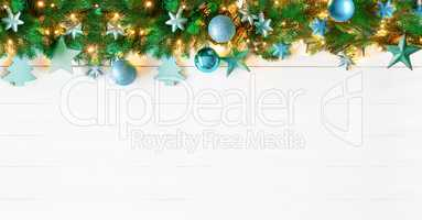 Turquoise Christmas Banner, Copy Space
