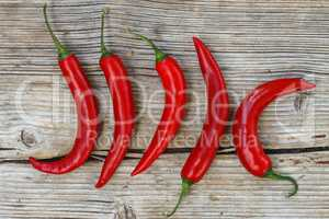 Hot chili pepper on a wooden background