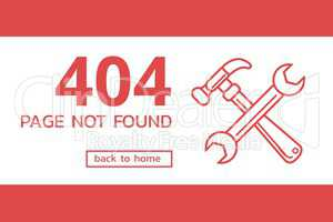 404 page not found text with tools graphics against red background