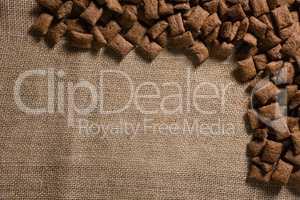 Chocolate toast crunch arranged on textile