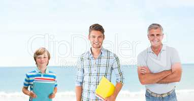 Educated men of age generations growing up with sea
