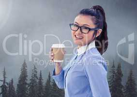 Businesswoman in nature forest