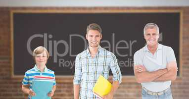 Educated men of age generations growing up with blackboard