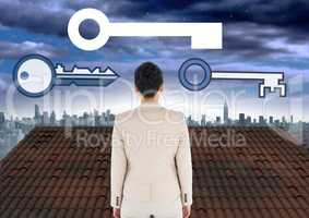 Key icons and Businesswoman standing on Roof with city sky