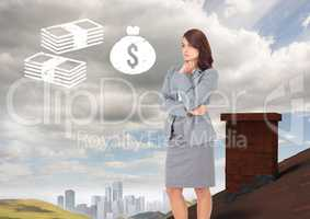 Money icons and Businesswoman standing on Roof with chimney in country with city in distance