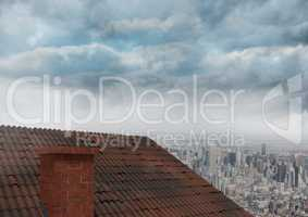Roof with chimney and city clouds