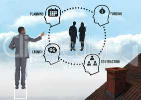 Businessman on ladder with planning and funding diagram graphics