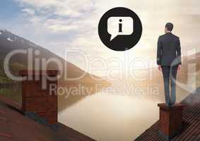 Information icons and Businessman standing on Roofs with chimney and lake mountain landscape
