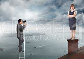 Businessman on ladder looking at Businesswoman standing on Roof with chimney and cloudy city port