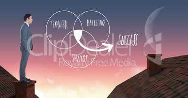 teamwork marketing and success text and Businessman standing on Roofs with chimney and moon sky