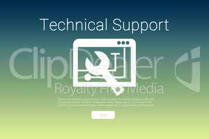 Composite image of tool with technical support text