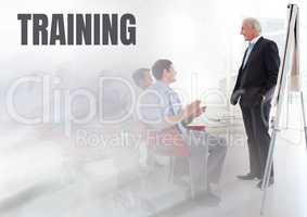 Training text and Business economics teacher with class