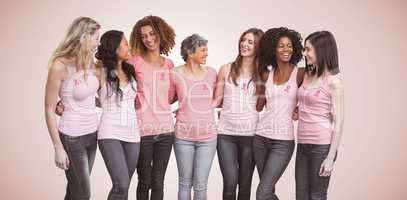 Composite image of happy multiethnic women standing together with arm around