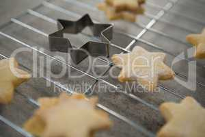 High anlge view of star shape cookies on cooling rack