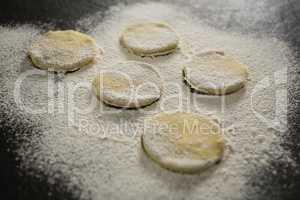 Flour on unbaked cookies