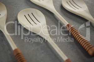 Close up of spatulas arranged side by side