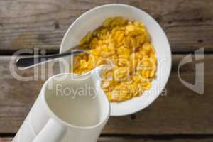 Milk being poured into bowl of wheaties cereal