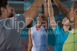 Volleyball players giving high-five seen through net