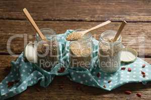 Three jars with various grains