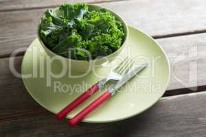 Kale in bowl on plate over table