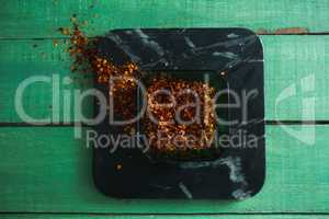 Crushed red pepper in bowl