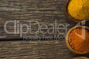 Spice powder on wooden table