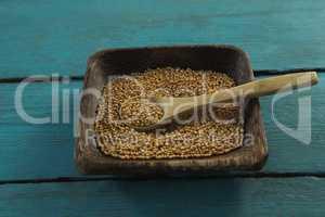Coriander seeds in wooden bowl