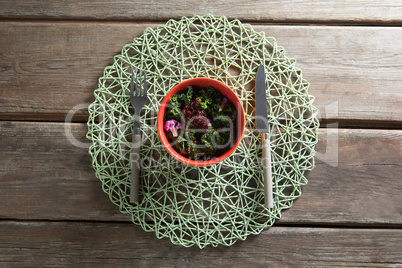 Vegetable salad in bowl on place mat