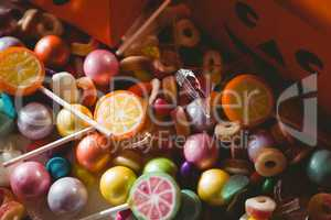 High angle view of sweet food by boxes